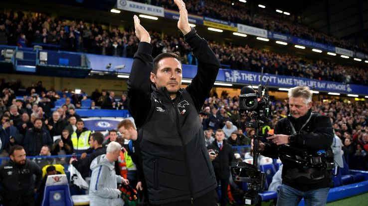 Frank Lampard applauds fans as he walks out at Chelsea.