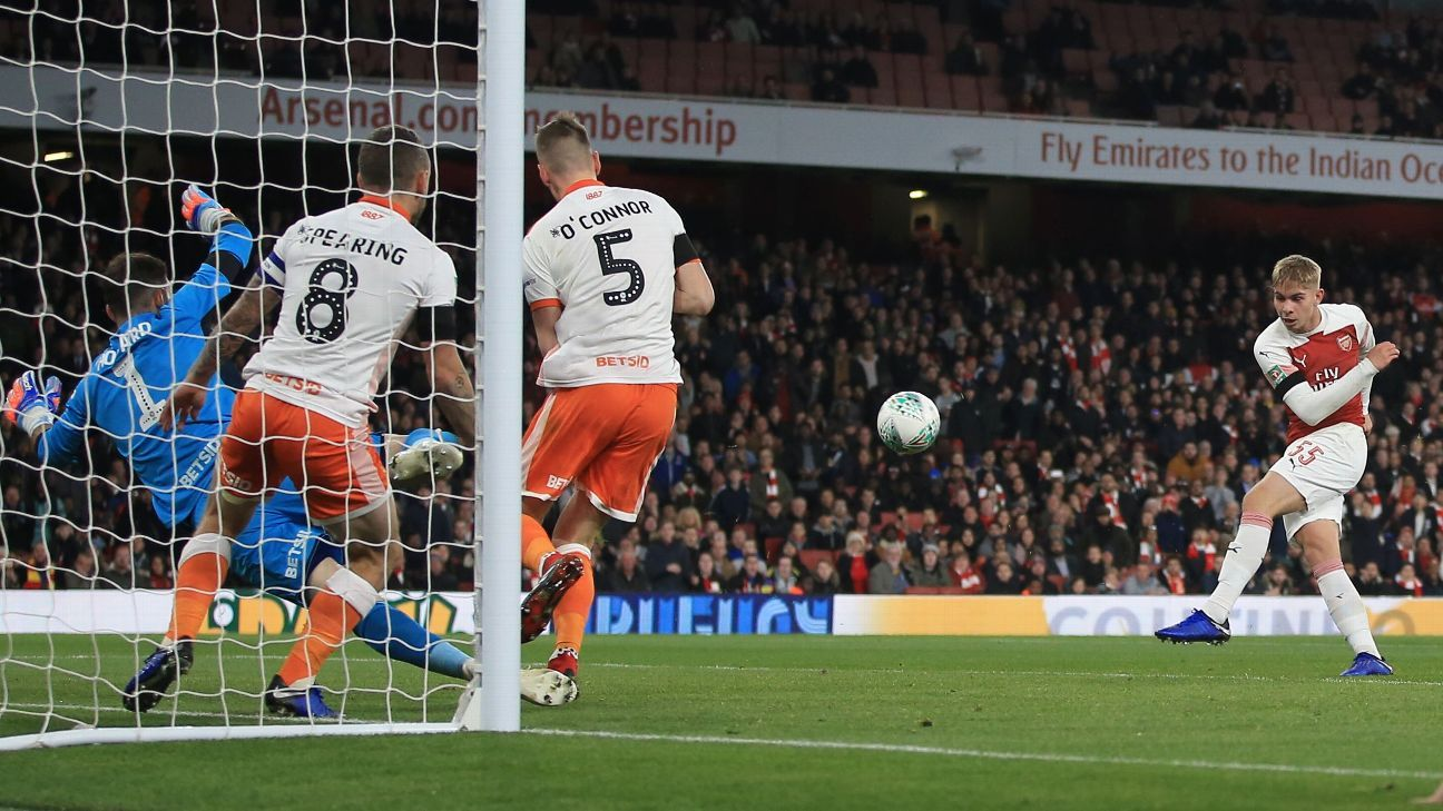 Emile Smith Rowe of Arsenal scores against Blackpool.