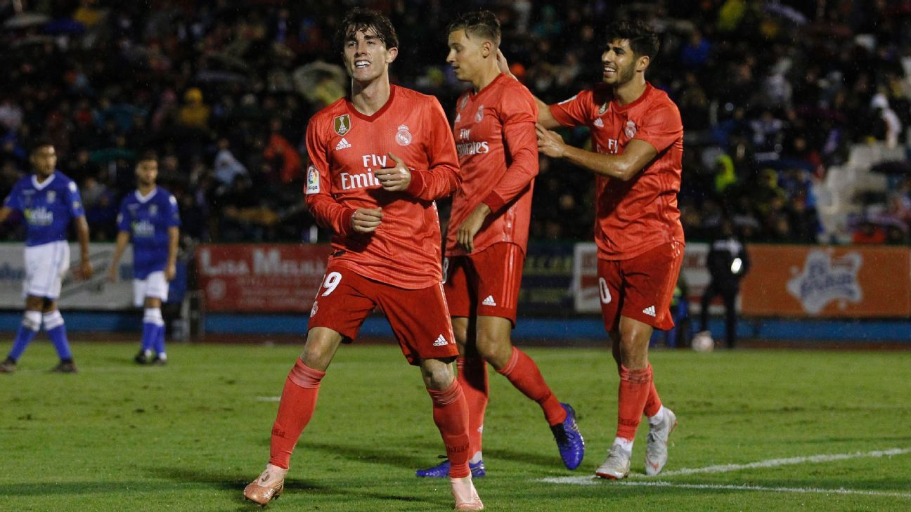 Alvaro Odriozola celebrates after scoring against Melilla.
