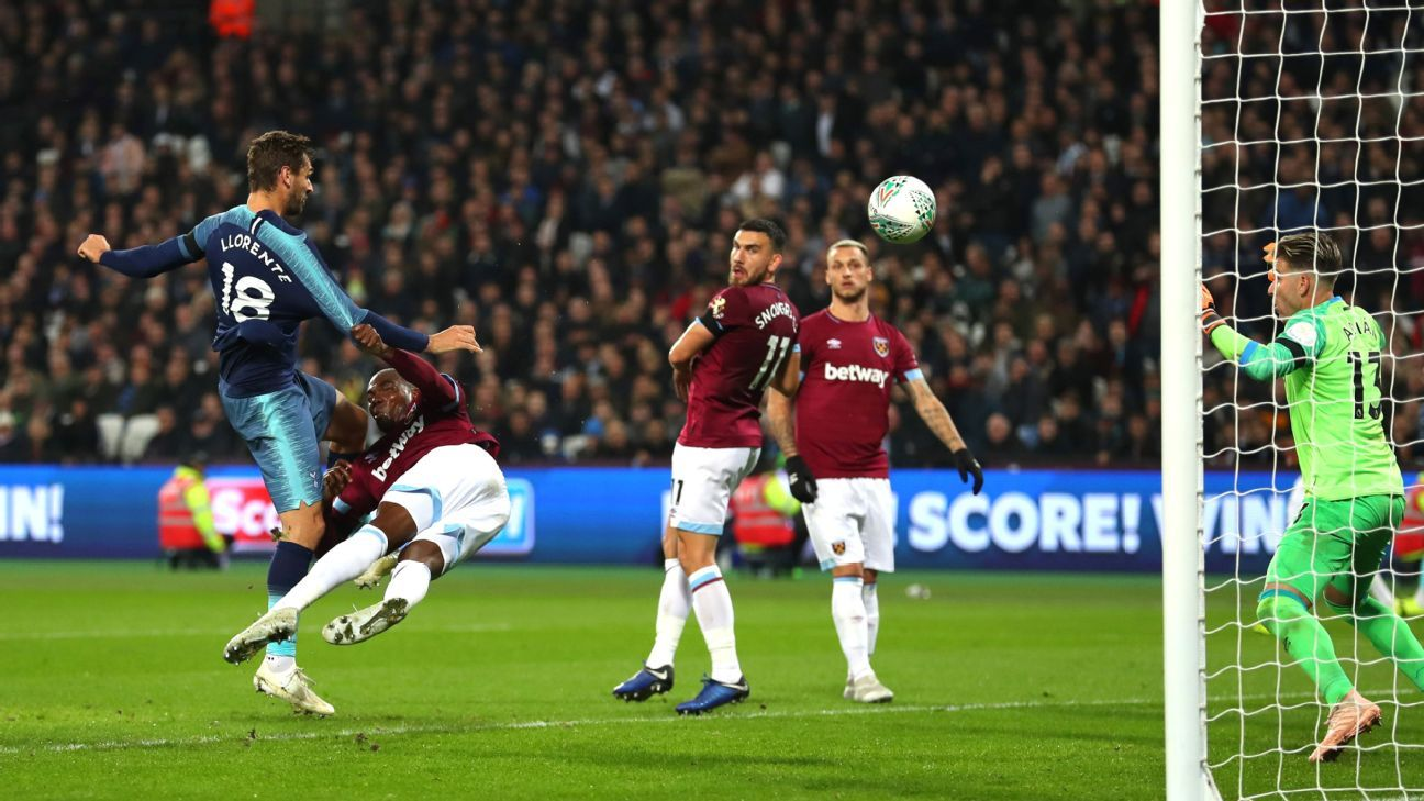 Fernando Llorente of Tottenham Hotspur scores his team's third at West Ham.