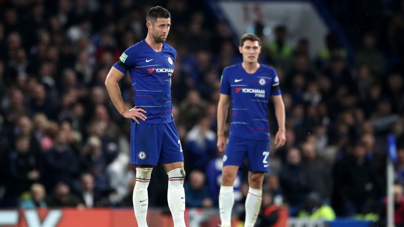 Gary Cahill and Andreas Christensen look on during Chelsea's Carabao Cup win over Derby County.