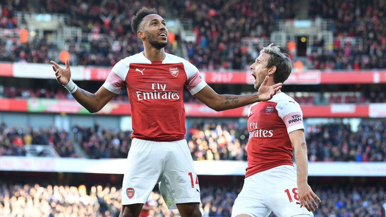 Pierre-Emerick Aubameyang scored Arsenal's second goal against Everton