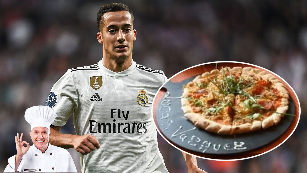 Real Madrid's Lucas Vazquez joins several of the club's stars, past and present, on the menu at Anthony's Pizzeria