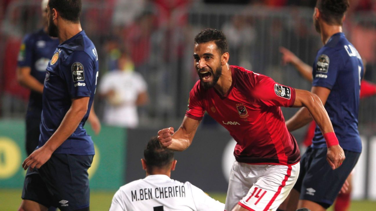 Al Ahly's Amr Al Solya celebrates scoring the second goal against Esperance in what proved to be a 3-1 win in the first leg of the CAF Champions League final.