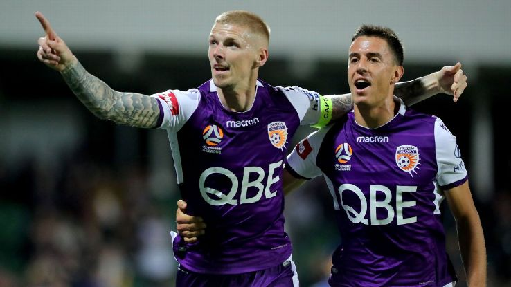 Andy Keogh scored one goal and helped set up another in Perth Glory's win over Brisbane Roar