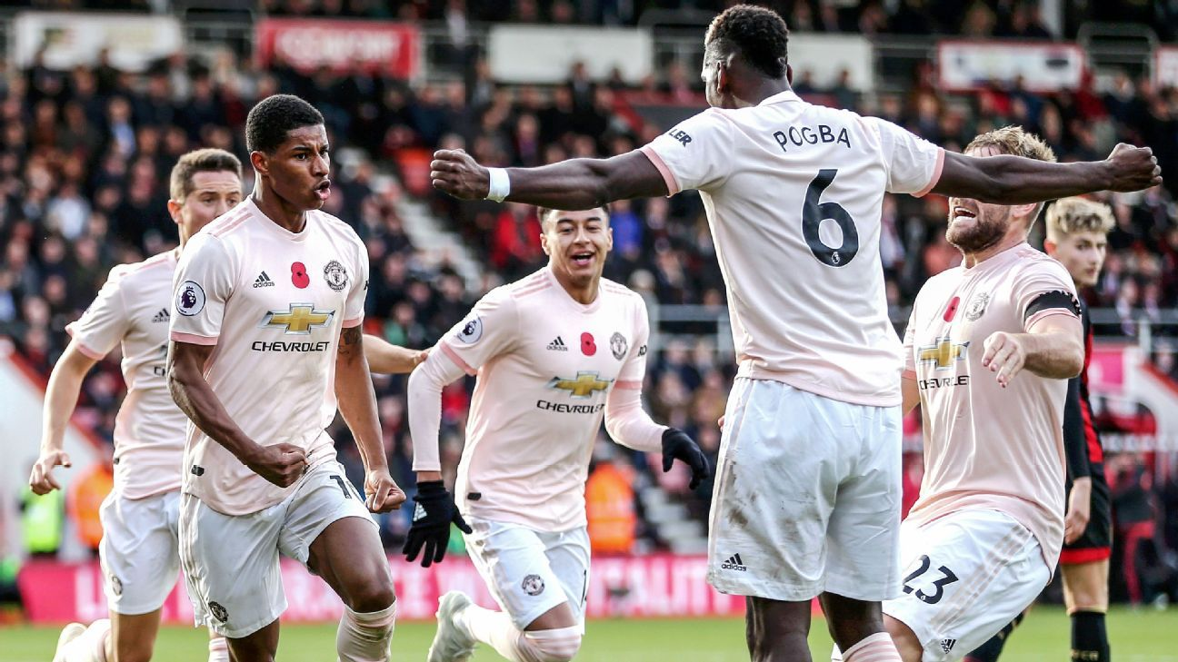 Marcus Rashford scored an injury time winner as Manchester United beat Bournemouth.