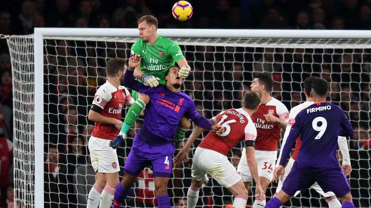 Bernd Leno struggled in Arsenal's draw with Liverpool.