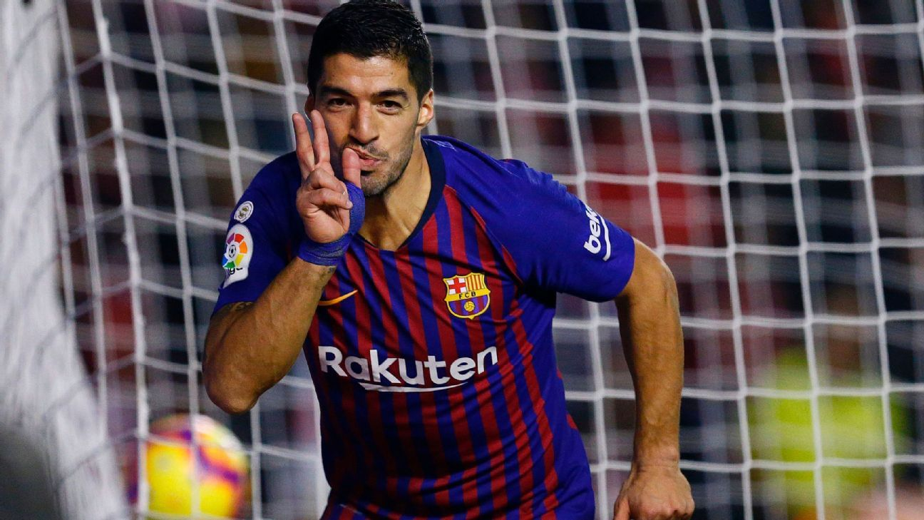 Luis Suarez scored twice against Rayo Vallecano, as his recent goal explosion continued.