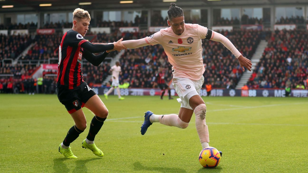 David Brooks and Chris Smalling compete for the ball