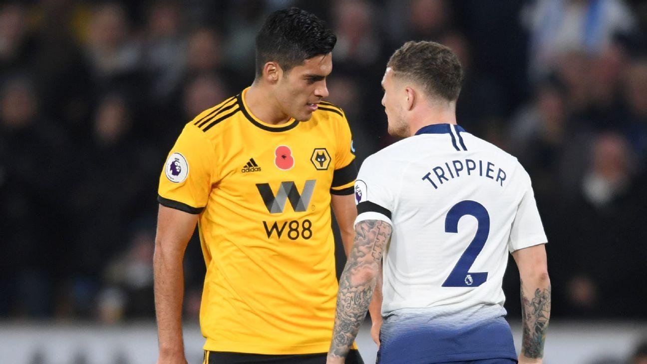 Tottenham defender Kieran Trippier with Wolves forward Raul Jimenez