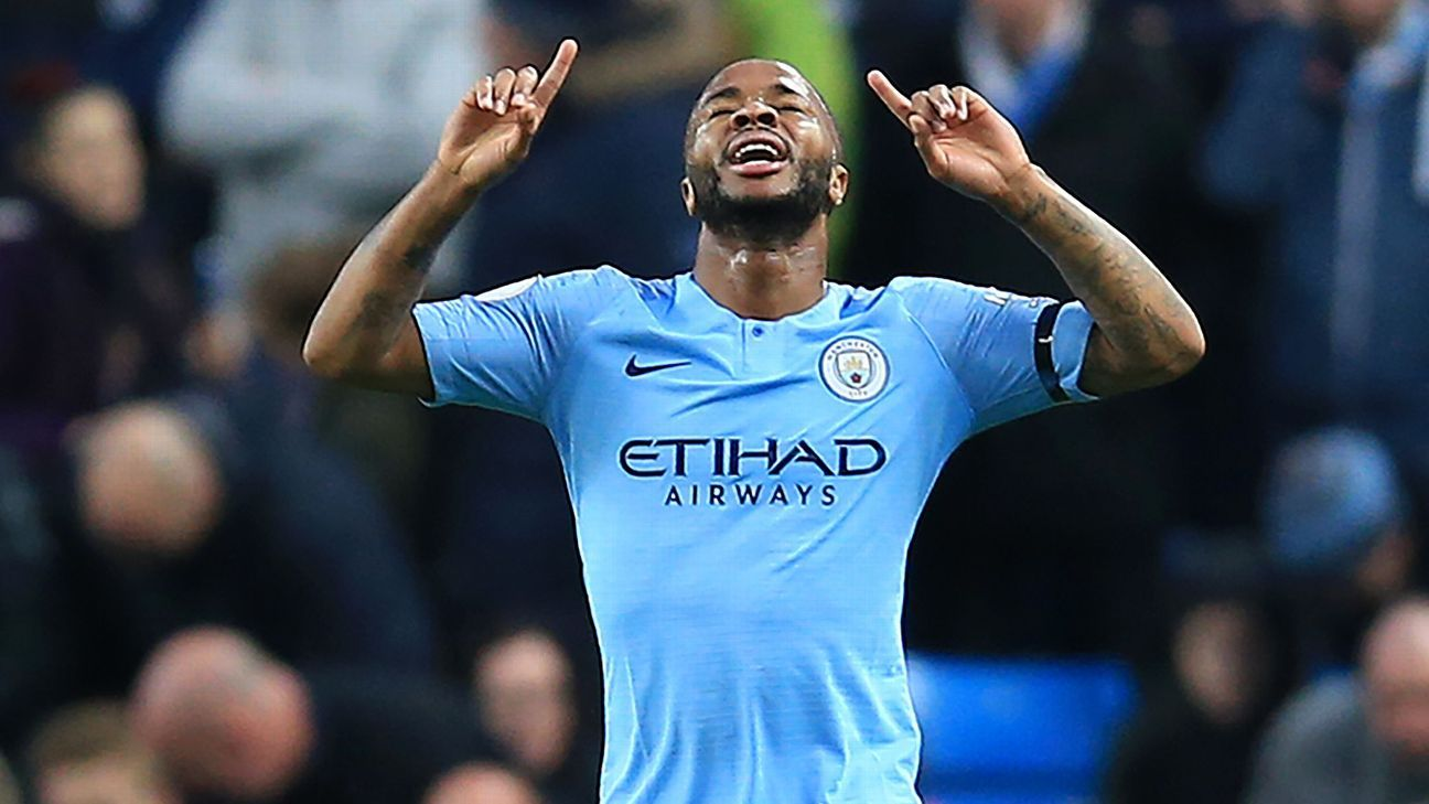 Manchester City's Raheem Sterling celebrates his second goal against Southampton