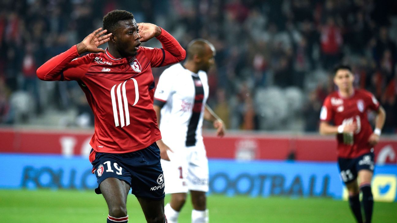 Lille's Nicolas Pepe celebrates scoring a goal