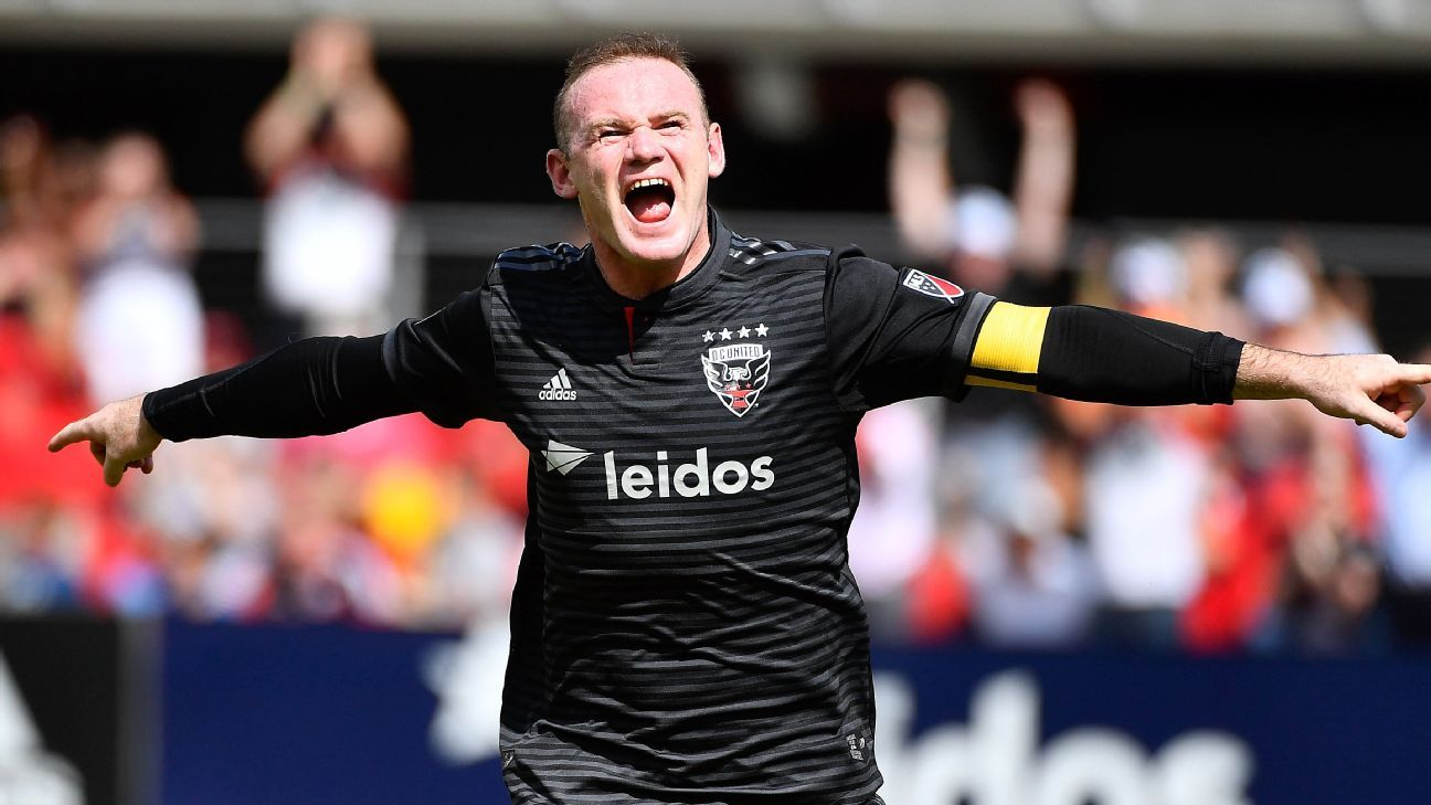Wayne Rooney celebrates during D.C. United's MLS match against the New York Red Bulls.
