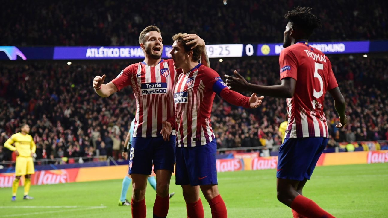 Atletico Madrid's 2-0 win means they are now level atop Champions League Group A with Borussia Dortmund.