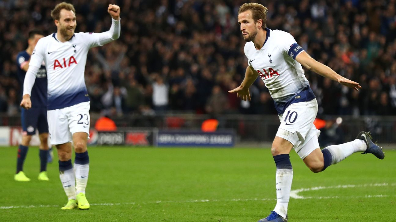 Harry Kane stepped up in Tottenham's greatest time of need, producing two late goals to key a comeback vs. PSV.