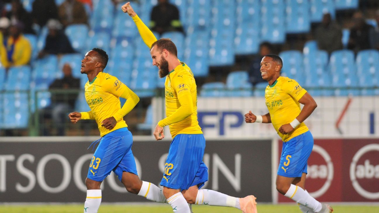 Jeremy Brockie of Mamelodi Sundowns celebrates a goal