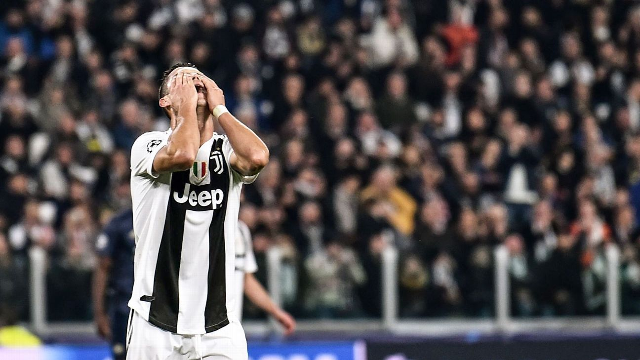 Juventus' Portuguese forward Cristiano Ronaldo reacts at the end of the UEFA Champions League group H football match Juventus vs Manchester United at the Allianz stadium in Turin on November 7, 2018.