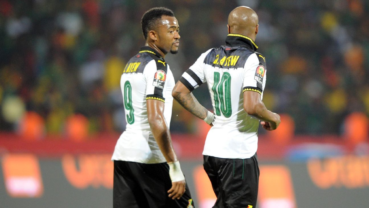 Andre and Jordan Ayew in action for Ghana