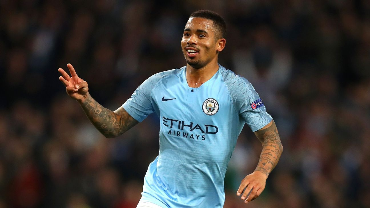 Gabriel Jesus celebrates scoring his first career hat trick in Manchester City's 6-0 win over Shakhtar Donetsk.