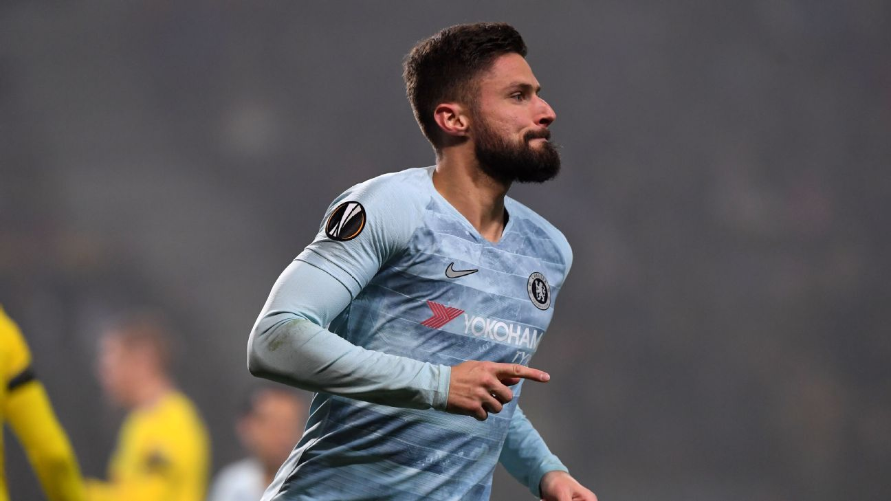 Olivier Giroud celebrates after scoring his first goal of the season in Chelsea's Europa League match at BATE Borisov.