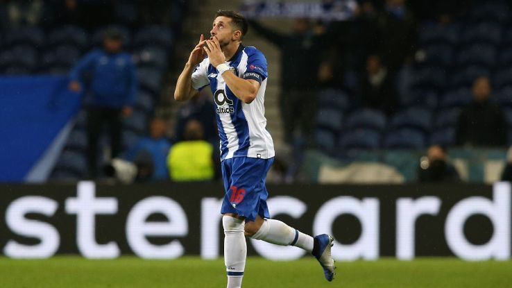 Hector Herrera celebrates after scoring in Porto's Champions League win over Lokomotiv Moscow.