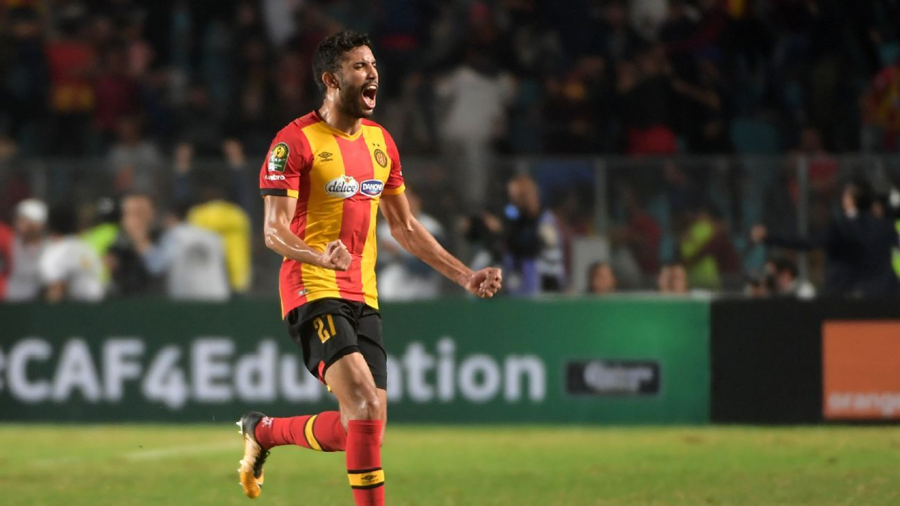 Esperance defender Mohamed Ali Yacoubi celebrates after a teammate scored during the second leg of the CAF Champions League against Al-Ahly.