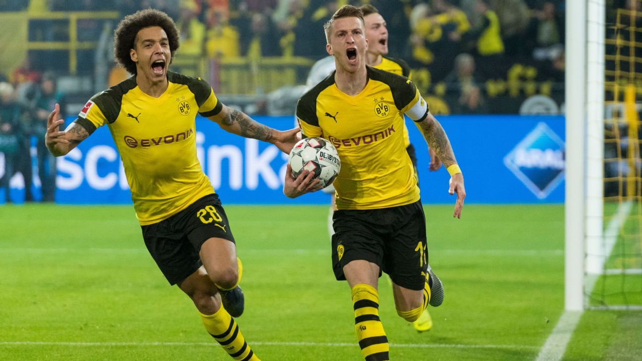 Reus, right, scored twice and was a constant threat as Dortmund overturned a deficit to beat rivals Bayern.
