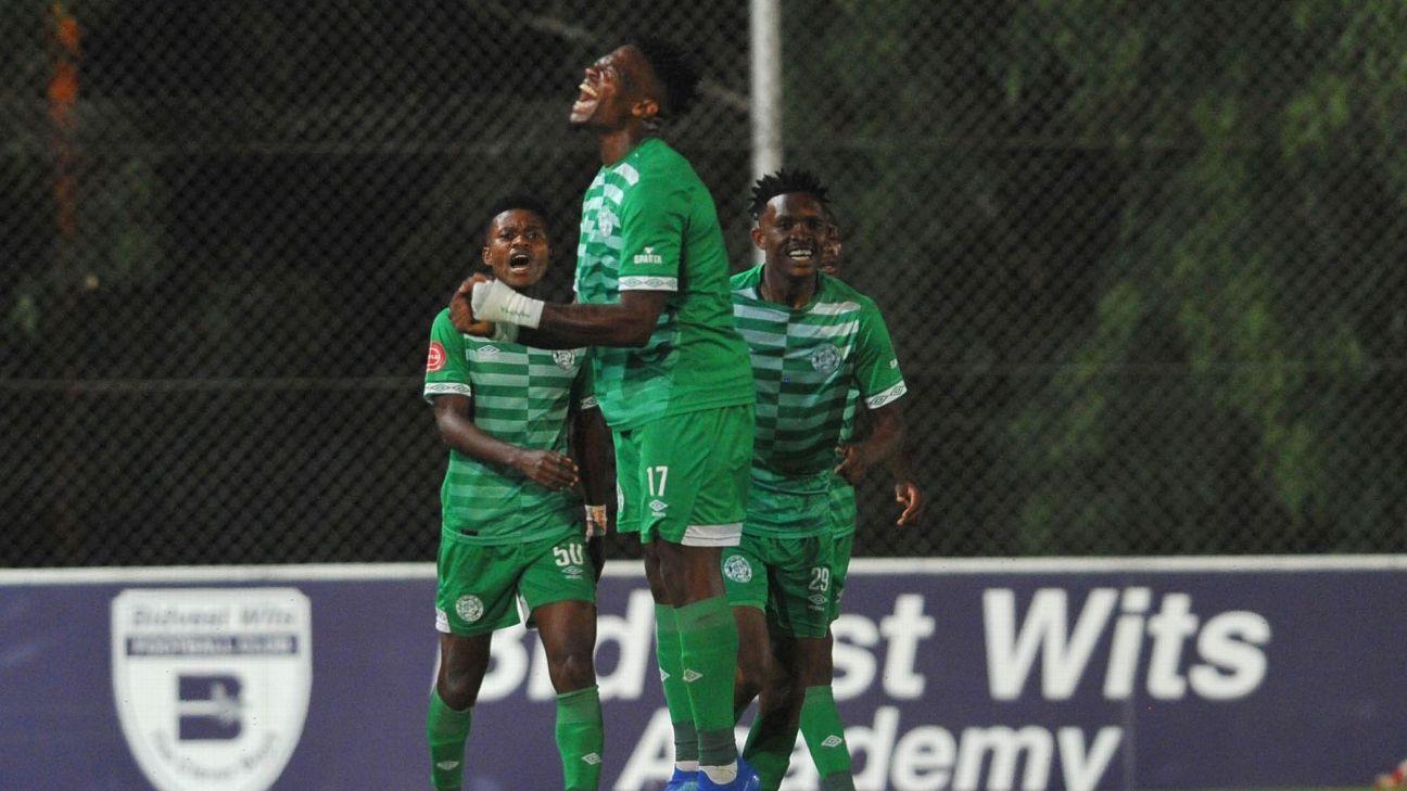 Tshegofatso Mabaso of Bloemfontein Celtic celebrates a goal against Bidvest Wits