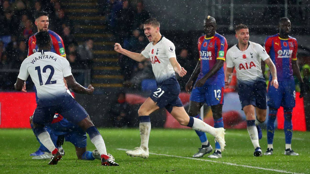 Foyth, centre, was on the money with his second-half header that gave Tottenham all three points.