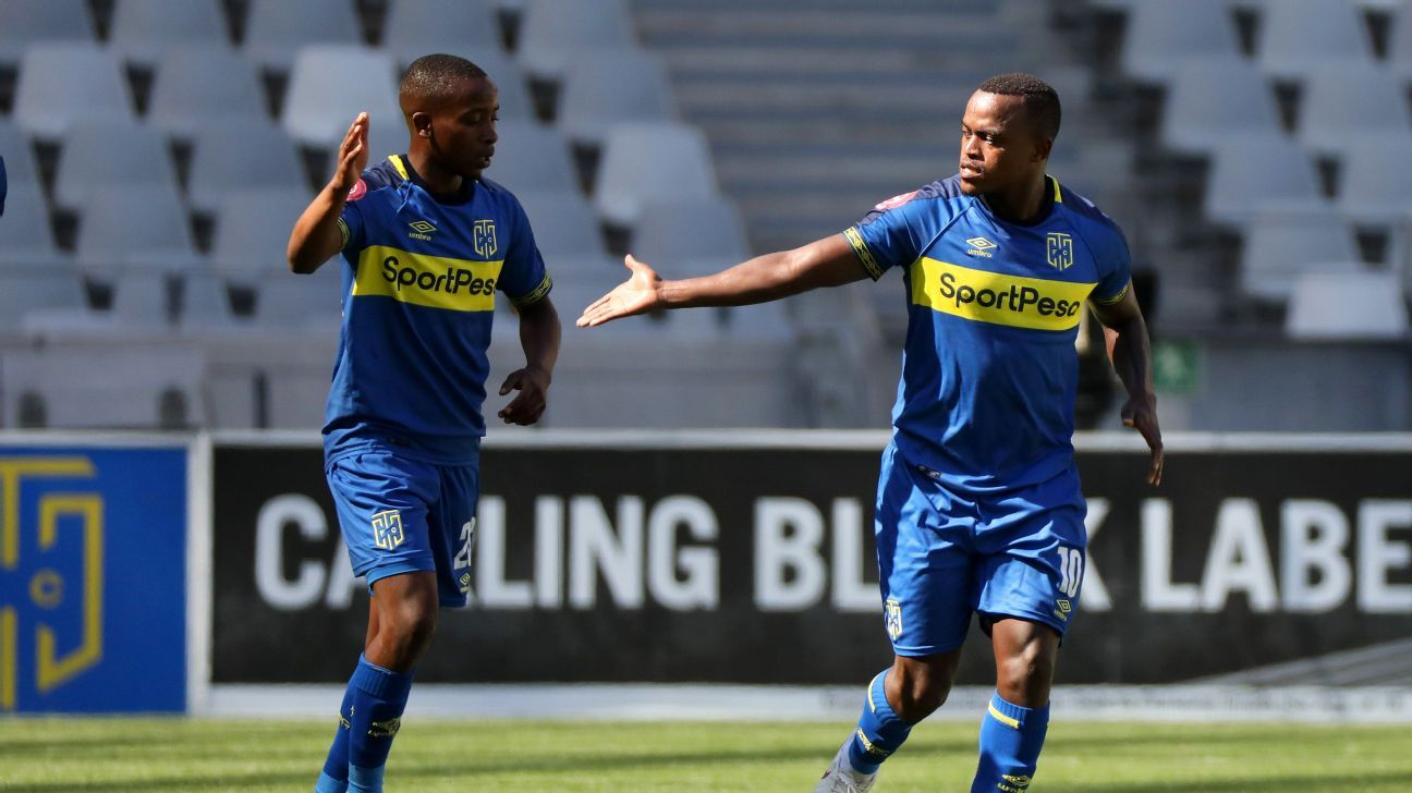 Ayanda Patosi celebrates his goal with Thabo Nodada