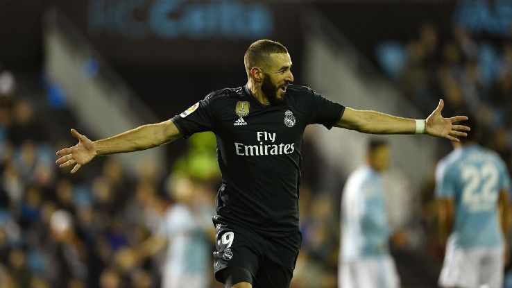 After two goals vs. Viktoria Plzen in midweek, Karim Benzema added another vs. Celta Vigo.