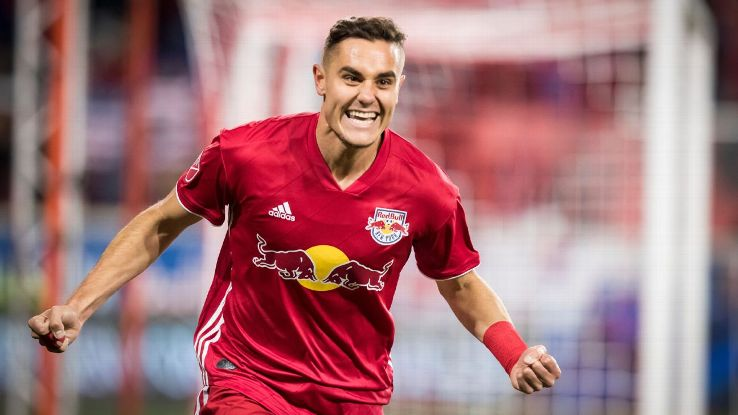 Aaron Long celebrates after scoring in the New York Red Bulls' MLS Cup playoff match against the Columbus Crew.