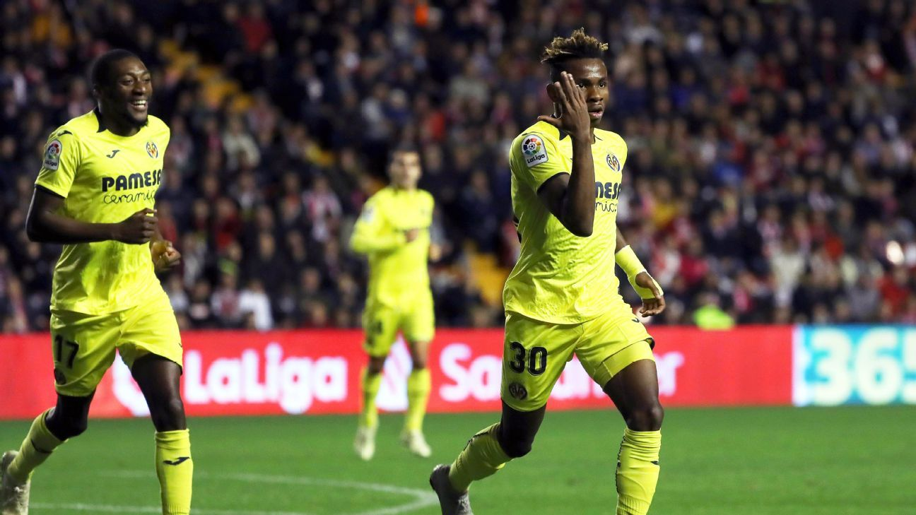 Samuel Chukwueze of Villarreal celebrates his first league goal