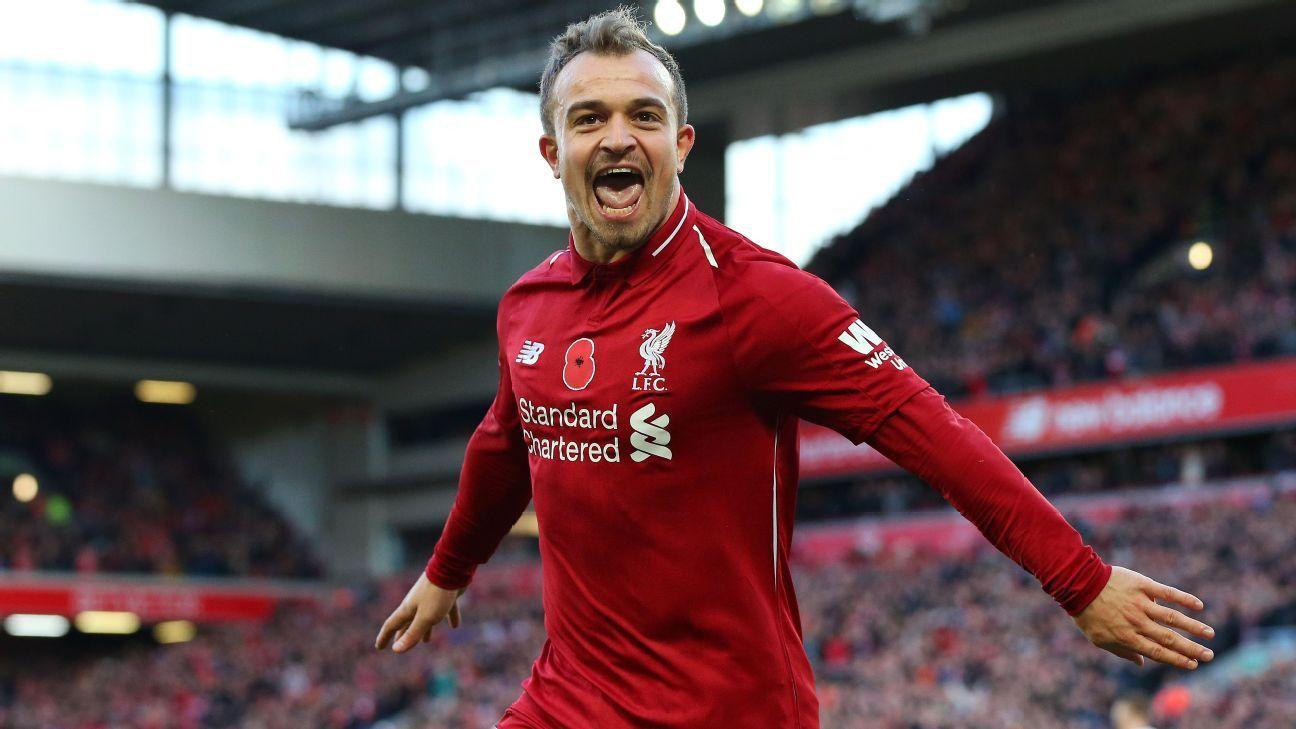 Xherdan Shaqiri celebrates after scoring for Liverpool against Fulham