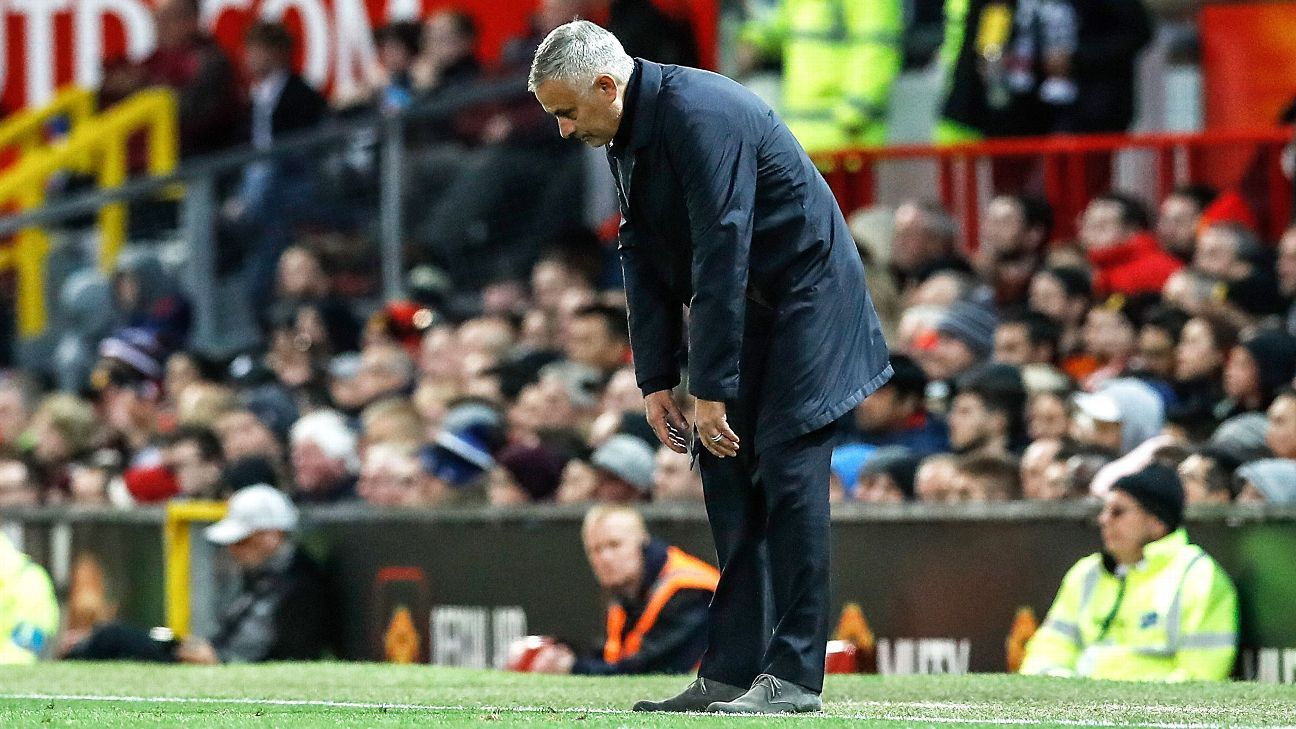 Jose Mourinho looks dejected on the touchline