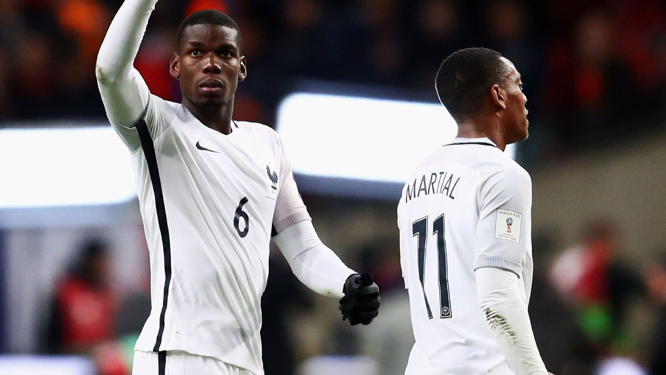Paul Pogba and Anthony Martial are out of the France squad.
