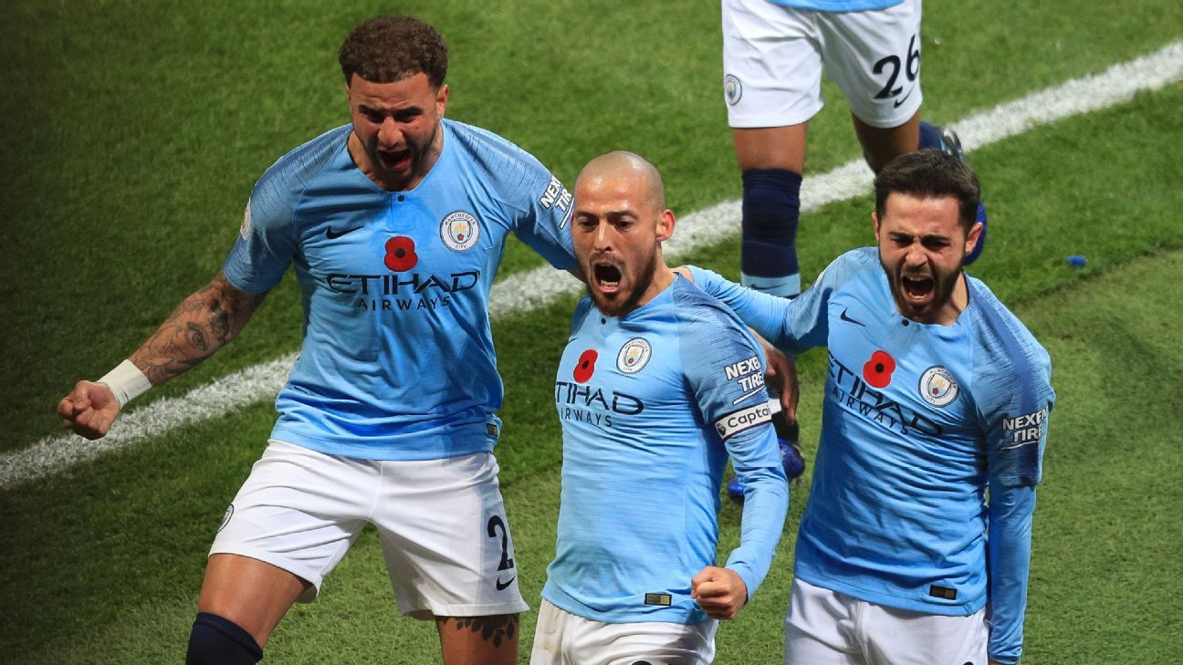 David Silva, center, was the architect and star of Man City's comprehensive derby victory capped by a one-of-a-kind goal.