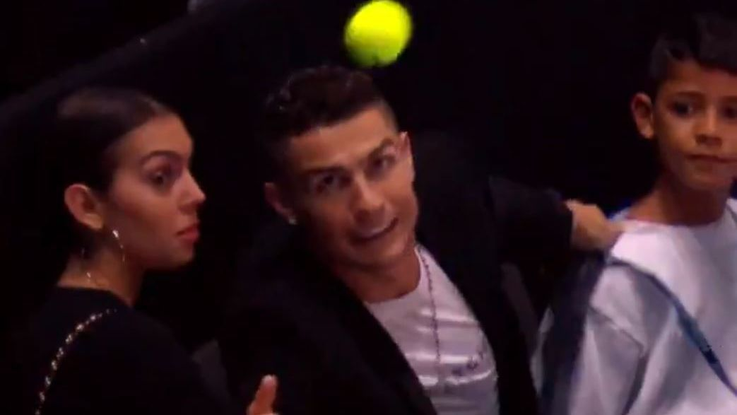 Cristinao Ronaldo is far more skilled with his feet than his hands, if footage of his attempted catch at the ATP Tour finals is anything to go by.