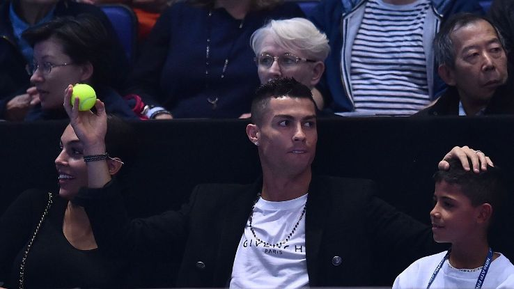 Cristiano Ronaldo with Georgina Rodriguez and Cristiano Jr at ATP Tour finals in London