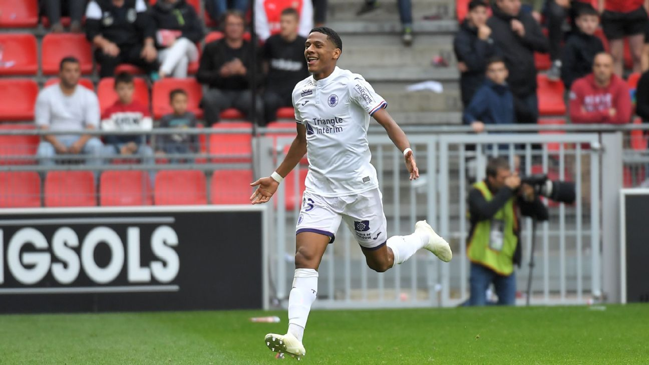 Jean-Clair Todibo celebrates after scoring a goal
