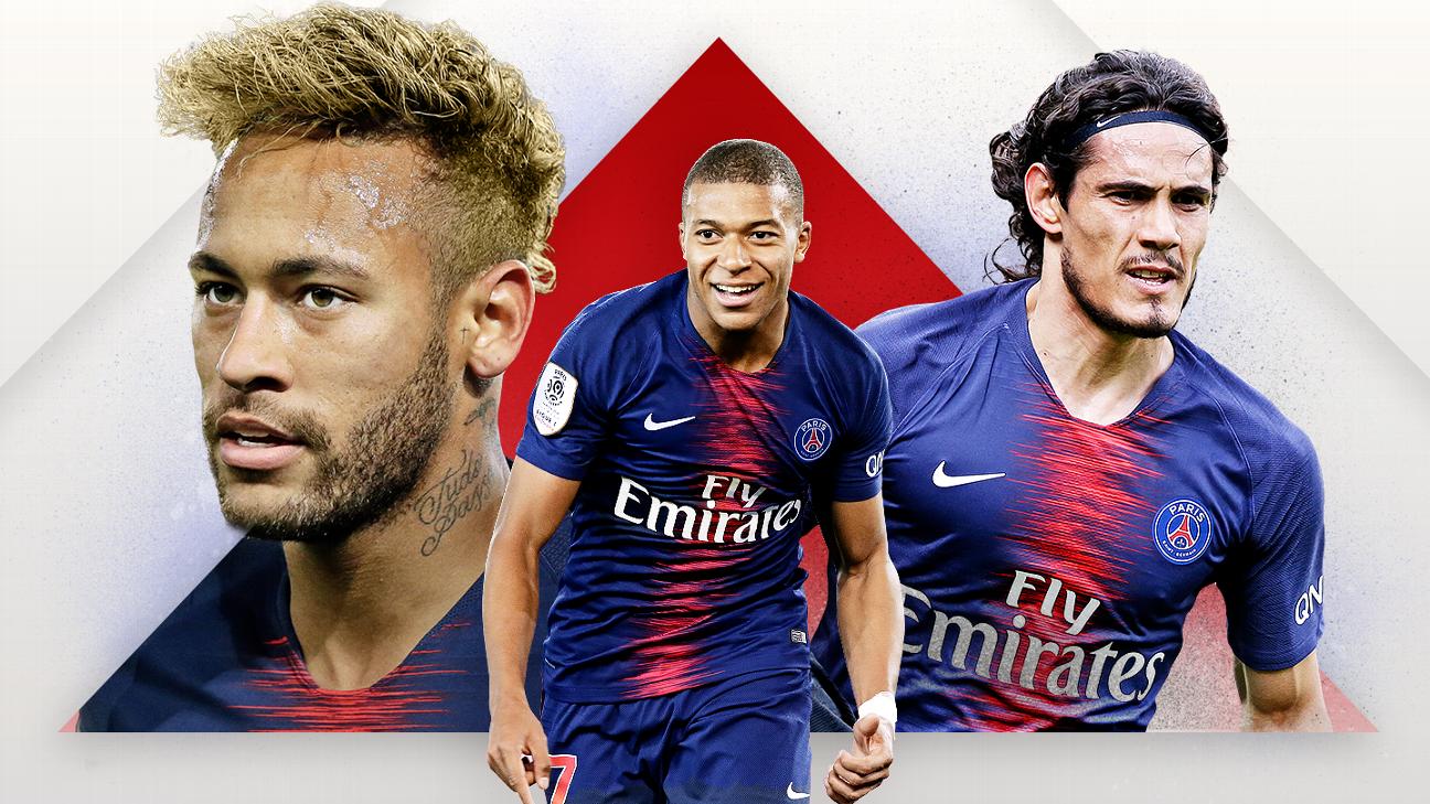 Beware these strike trios: PSG (Neymar, Cavani, Mbappe)