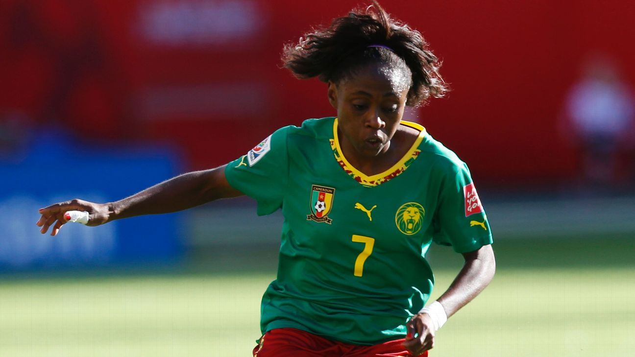 Gabrielle Onguene of Cameroon's Indomitable Lionesses takes aim