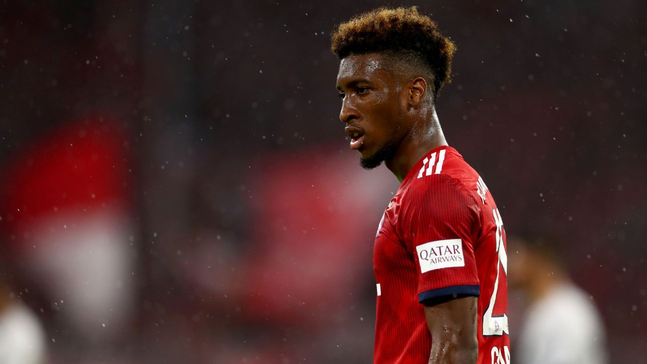 Kingsley Coman during Bayern Munich's Bundesliga game against Hoffenheim in August 2018.