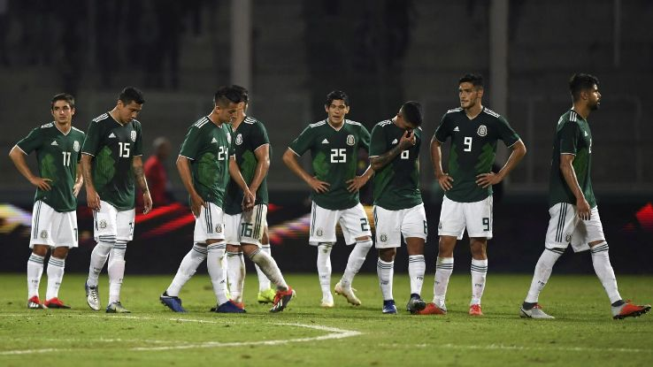 Mexico players react after losing a friendly to Argentina in Cordoba.