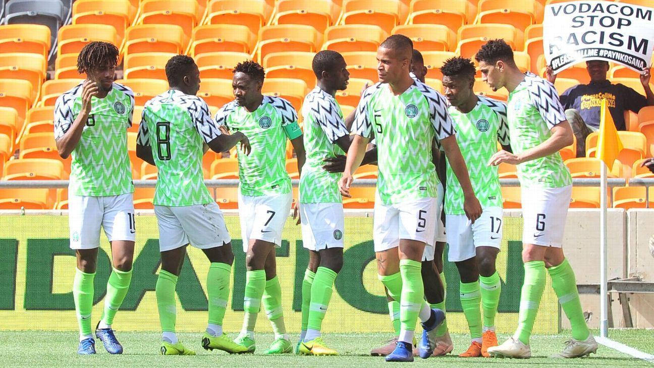 Nigeria celebrate Samuel Kalu's opener vs. Bafana