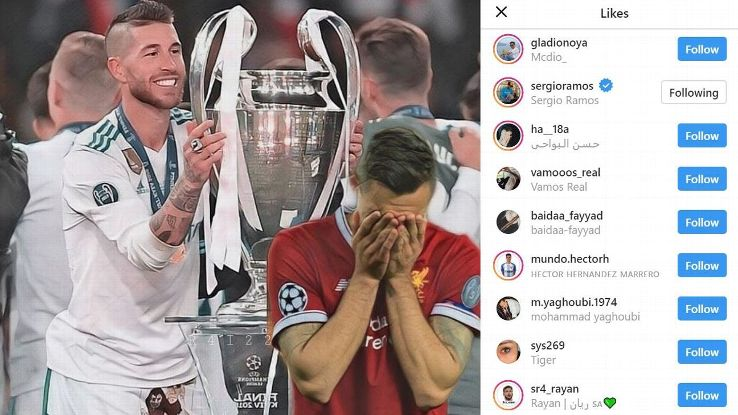 Sergio Ramos liked an image posted on an Instagram fan account trolling Dejan Lovren