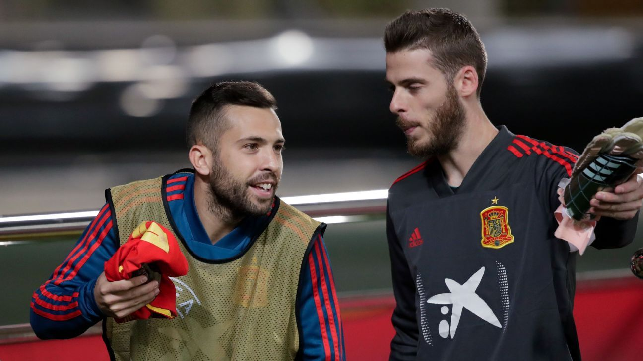 Spain players Jordi Alba and David de Gea