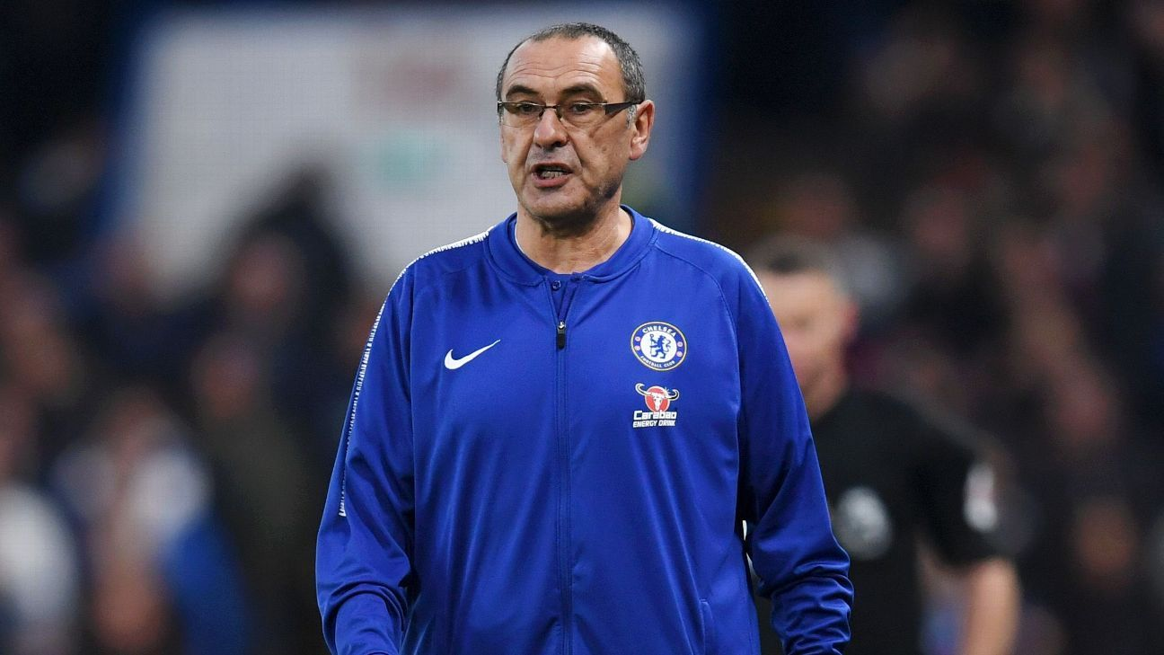 Chelsea manager Maurizio Sarri manager prowls the touchline against Crystal Palace