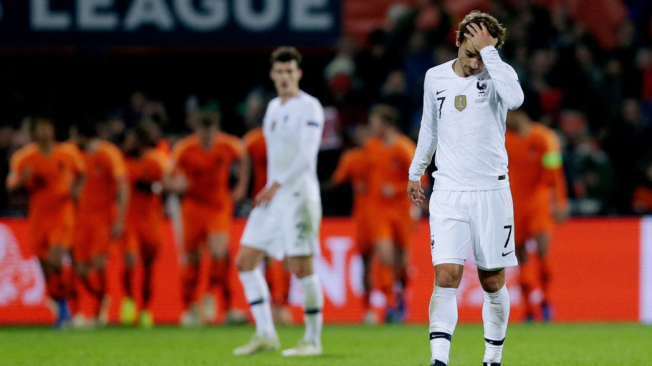 Antoine Griezmann looks on during France's Nations League loss to the Netherlands.