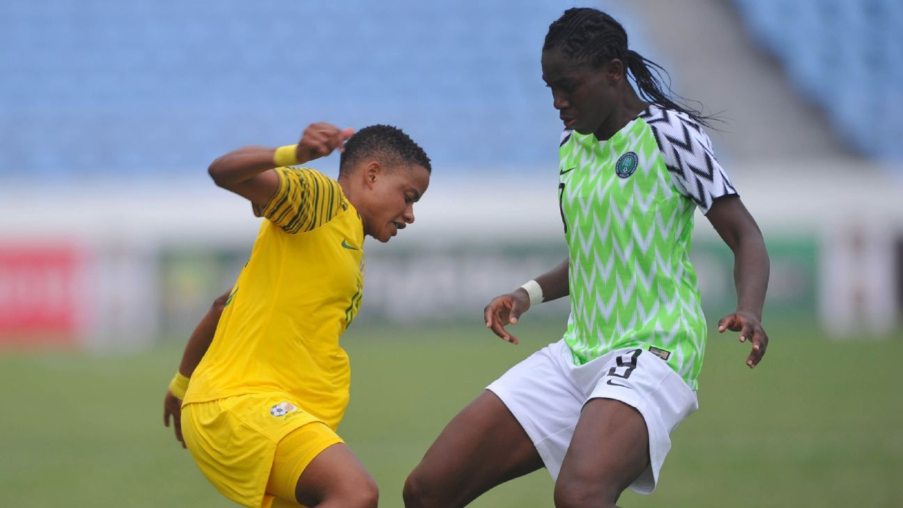 Refiloe Jane of Banyana Banyana, Asisat Oshoala of the Super Falcons